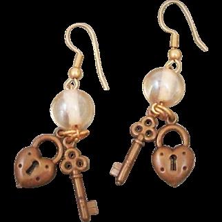 Vintage 1980's Heart Shaped Lock & Skeleton Key Charm Earrings with Glass Beads