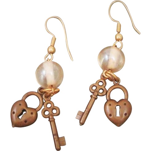 Vintage 1980's Heart Shaped Lock & Skeleton Key Charm Earrings with Glass Beads
