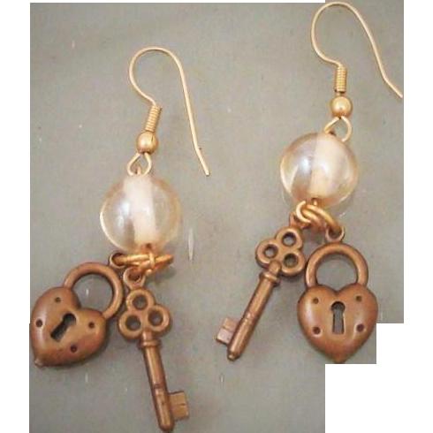 Vintage 1980's Heart Shaped Lock & Skeleton Key Charm ...