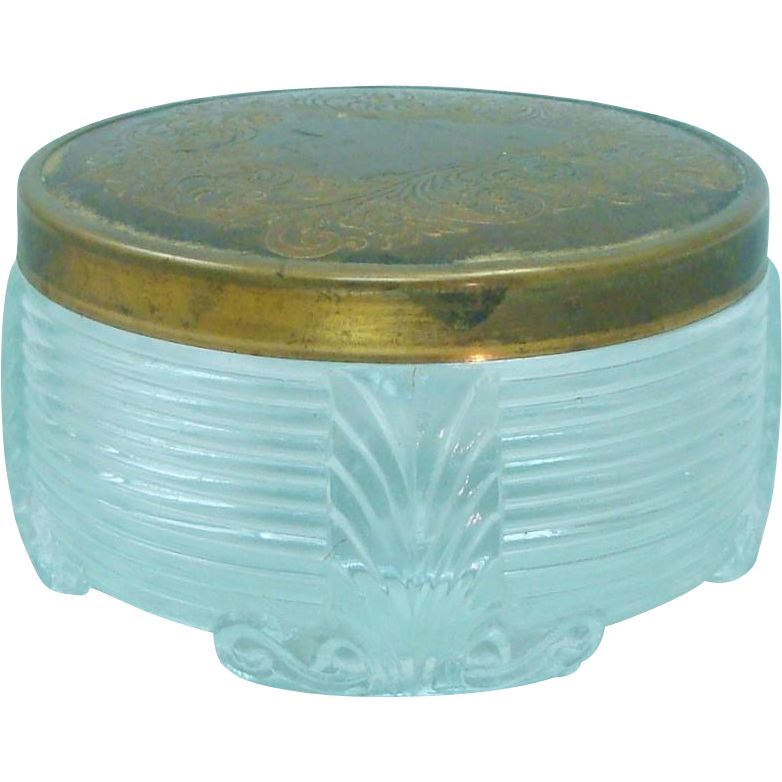 Art Deco Glass & Brass Dresser Jar