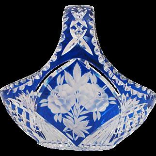 Bohemian Cobalt Cut Back to Clear Rose Glass basket