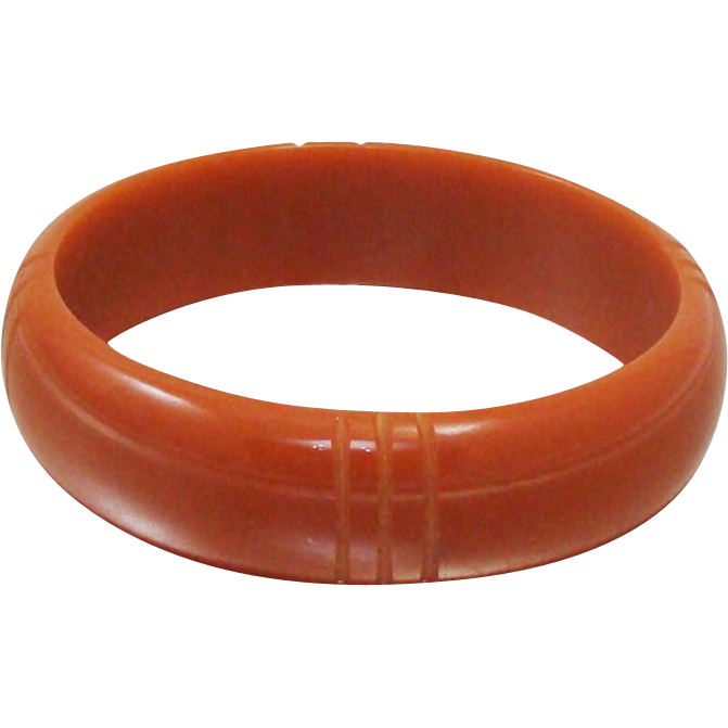 Vintage Carved Bakelite Bracelet ~ Bangle with Bands in Pumpkin ~ Carmel