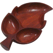 Mid-Century Modern Hand Carved Monkey Wood Leaf Divided Bowl
