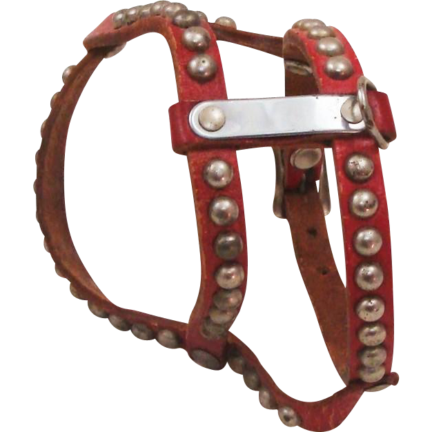 Art Deco Period Red Studded Leather Dog Harness