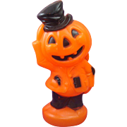 Vintage 1969 Plastic Blow Mold Scarecrow Jack-O-Lantern Halloween Decoration by Empire