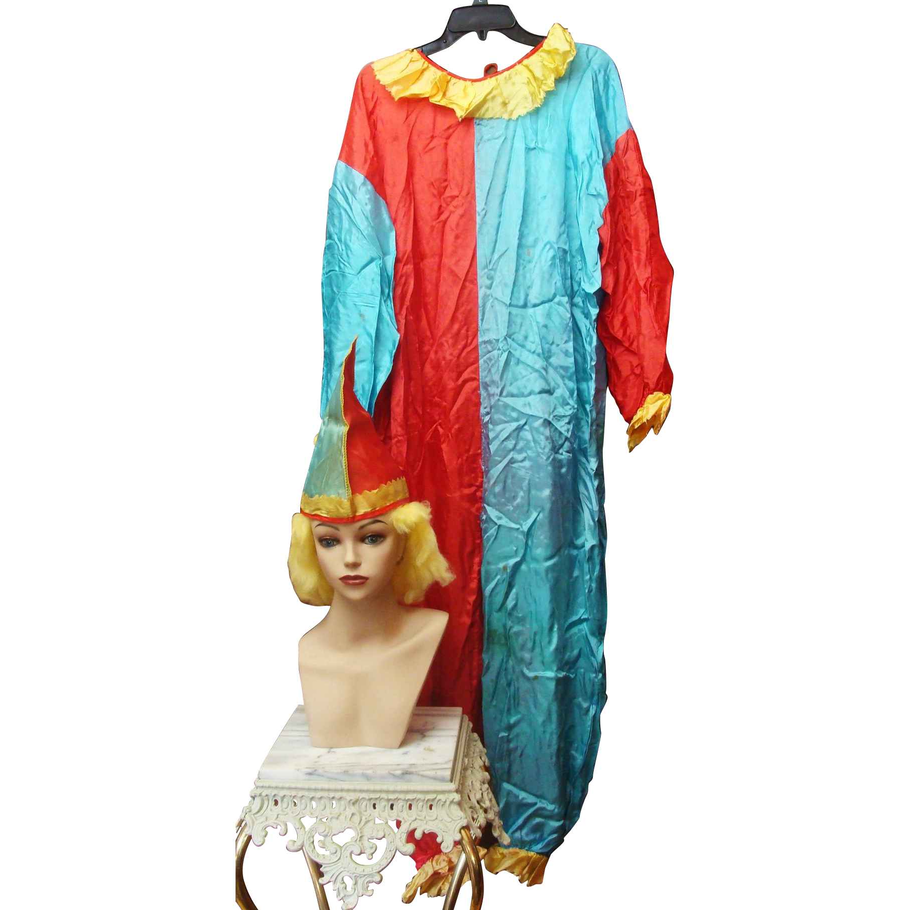 Vintage Halloween Costumes Pieces by Collegeville Clown, Hat and Wig