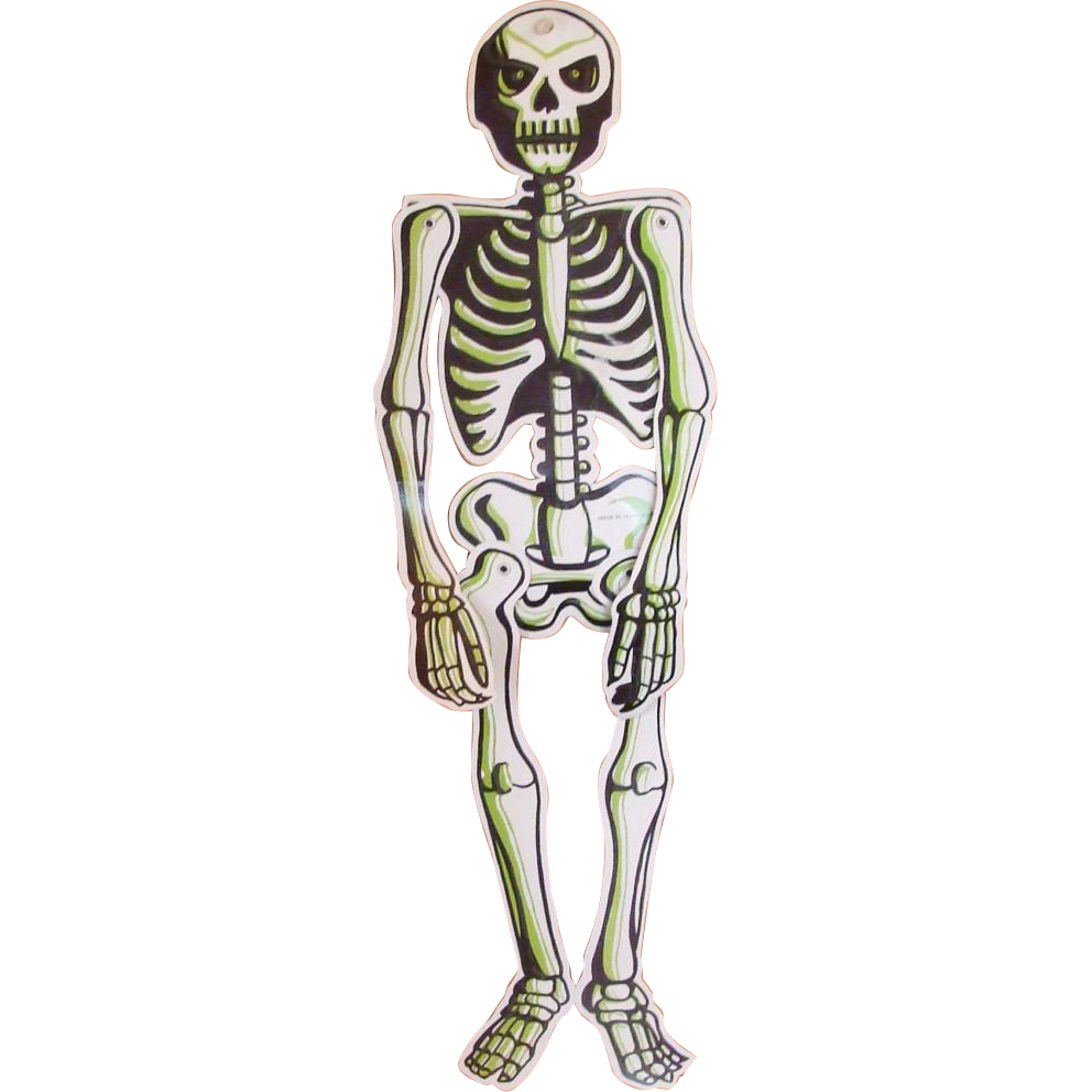 """Vintage 24"""" Jointed Hanging Skeleton with Glow in the Dark Accents"""