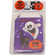 Vintage 1981 Trick or Treat Bags in Original Bag Ghost ~ Black Cat ~ Jack-O-Lantern ~ Gravestones ~ Bats ~ Moon