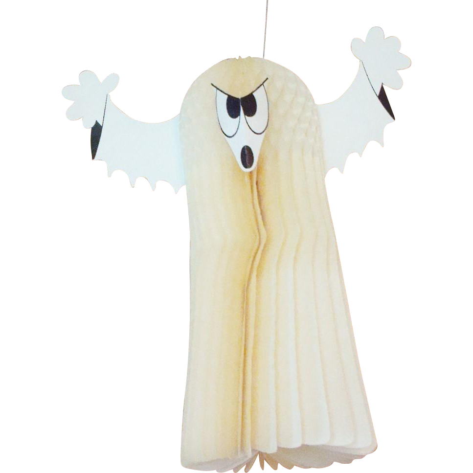 """Vintage Halloween Honeycomb Ghost by Amscan Made in Denmark 14"""" Tall"""