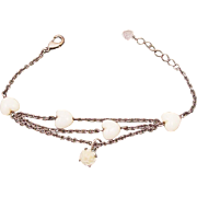 Vintage Three Chain Bracelet with Carved Stone Hearts & Rose