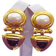 Bold Chunky Designer Signed Joan Rivers Earrings