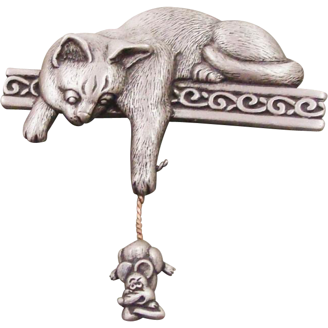 "Whimsical Pin ""The Cat has the Mouse by its Tail"" by JJ ~ Jonette Jewelry Co."
