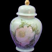 Elegant Hand Painted Signed & Dated Ginger Jar ~ Urn with Lid