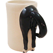 1996 Happy Appy Valley Studio Black Horse Rump Mug Handmade in New Waterford, Ohio