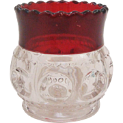 EAPG Ruby Flash King's Crown Large Toothpick Holder by US Glass