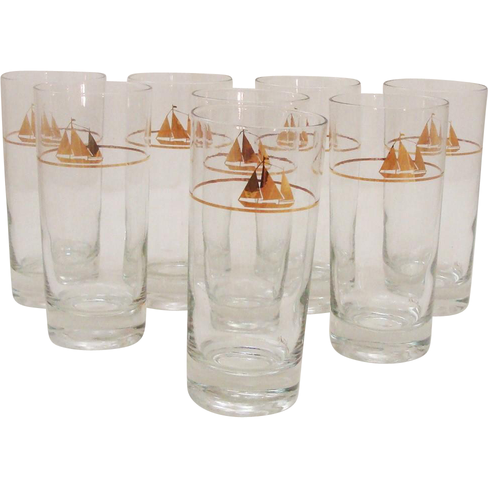 Set of Eight Mid-Century Modern George Briard Highball Tumblers Sailboat ~ Nautical ~ Ship