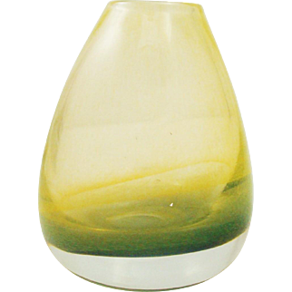 Incredible Gold & Green Cased Murano Glass Vase