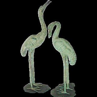 Vintage 1970's Brass Heron ~ Crane ~ Egret Life Size Bird Statues