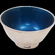 Mid-Century Modern Towle Silversmiths Precious Enamel & Silverplate Brilliant Blue Footed Bowl