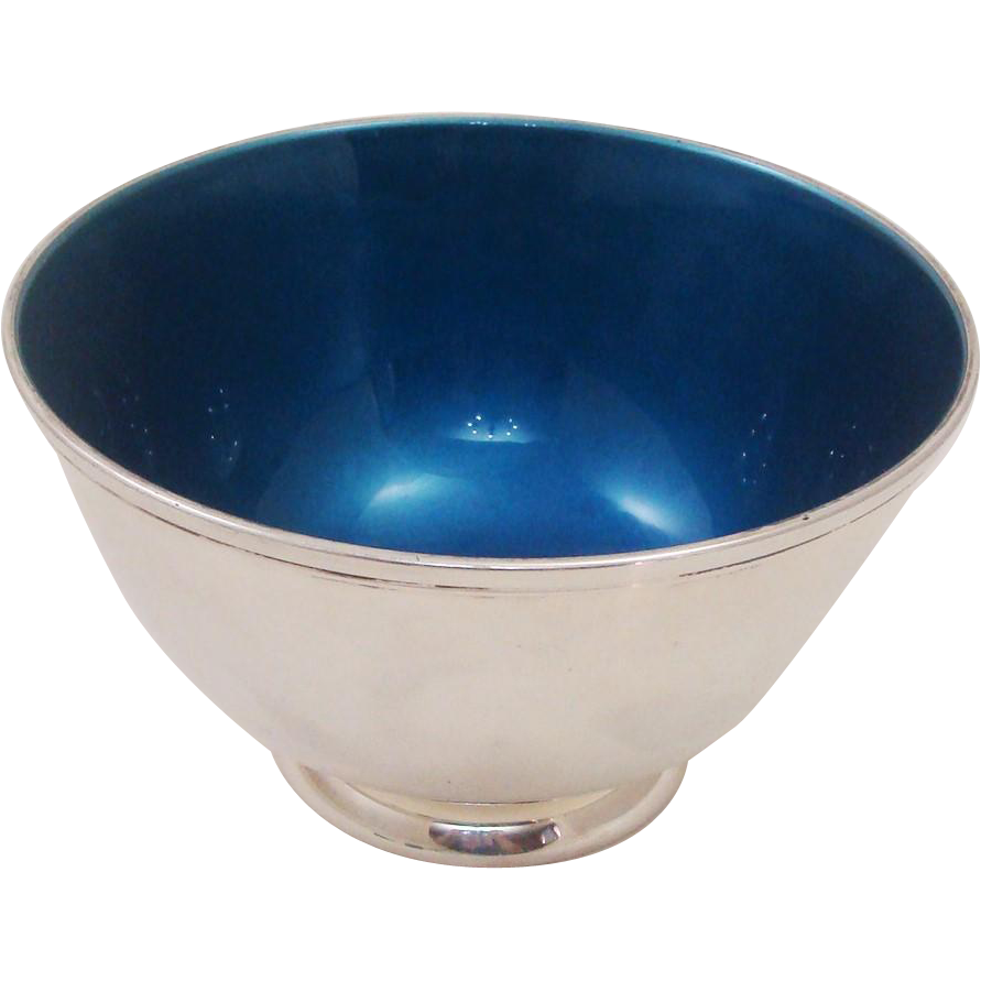 Mid-Century Modern Towle Silversmiths Precious Enamel & Silverplate Brilliant Blue Footed Bowl