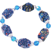 Brilliant Millefiori Art Glass Bracelet with Crystal Spacers