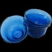 Unique Hand Blown Art Glass Cobalt Blue Rimmed Soup ~ Salad Bowls Full of Bubbles