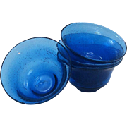 Unique Hand Blown Art Glass Cobalt Blue Rimmed Soup ~ Salad Bowls Full of Bubbles