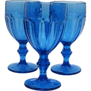 Set of Three Gibraltar Rock Sharpe by Libbey Water Goblets in Antique Blue