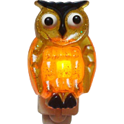 Retro 1960's Acrylic Sparkle Yellow Owl Plug In Night Light