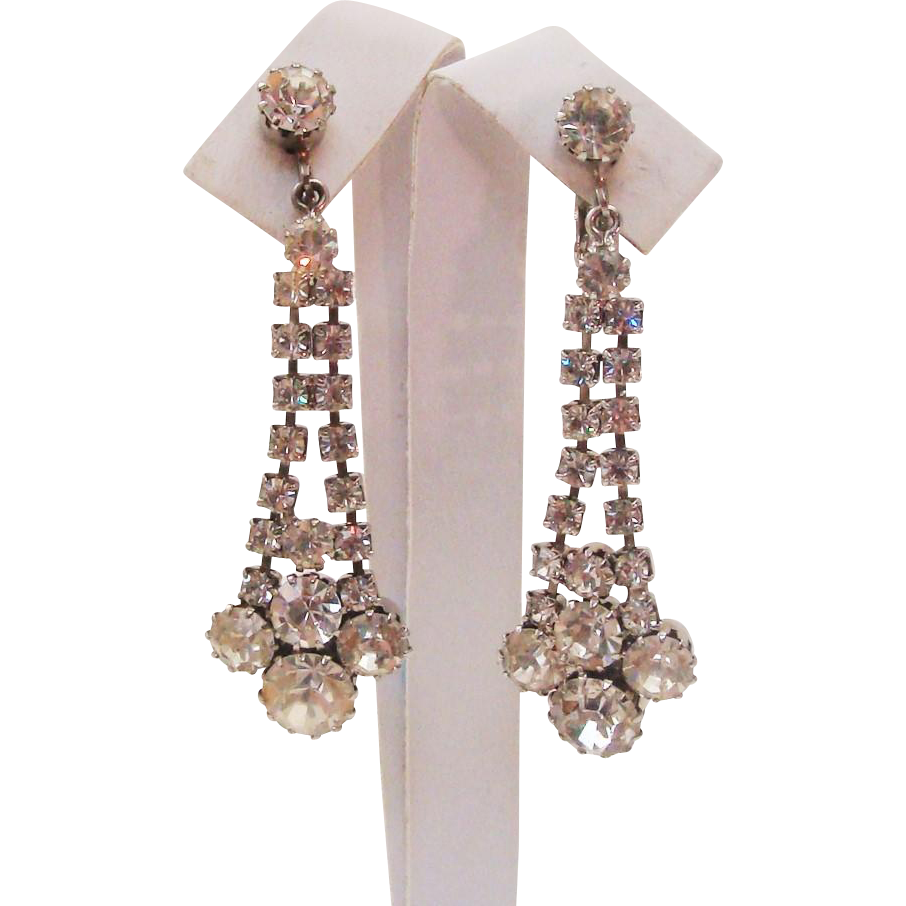 "Incredible Dripping 2 1/4""  Cascading Waterfall Earrings Alive with Fire & Sparkle"