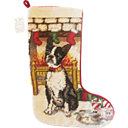 Vintage Boston Terrier Dog Hand Made 100% Wool Needlepoint Christmas Stocking