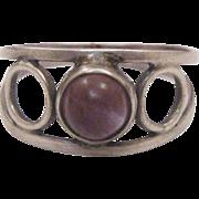 Navajo Signed Amethyst Cabochon Sterling Silver Ring