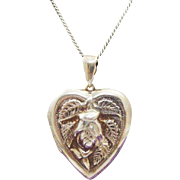 Romantic Repousse Rose & Leaves on Sterling Silver Heart Locket