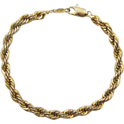 "Thick 24K Gold Plated 7.5"" Rope Bracelet"
