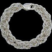 Bold, Thick & Heavy 32.33 Gram Byzantine Sterling Silver Chain Bracelet