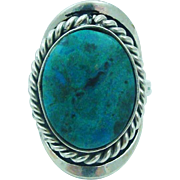 Breathtaking Native American Old Pawn Turquoise & Sterling Silver Ring