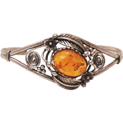 Genuine Baltic Honey Amber & Sterling Silver Cuff Bracelet