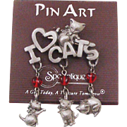 Adorable I Love Cats Dangling Charm Pin by Spoontiques on Original Presentation Card