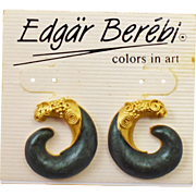 Original 1980's Edgar Berebi Satin Gold Tone with Green Enamel Earrings on Original Presentation Card
