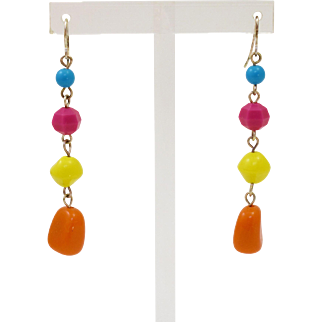 Bold, Bright & Colorful 1970's Lucite Chunk Earrings