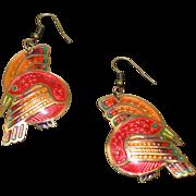 Amazing Edgar Berebi Enamel Birds of Paradise Earrings