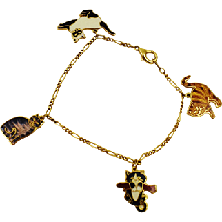 Rare Two Fishes Fine Enamels Signed Cloisonne Kitty Cat Charm Bracelet 22K Gold Plated