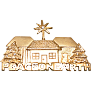Vintage 1990's Signed Peace on Earth Holiday Pin by Casual Corner