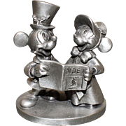 Vintage Mickey & Minnie Mouse Christmas Caroling Noel Pewter Figurine Signed Walt Disney