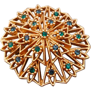 Napier Signed Pin with Blue & Green Crystal Rhinestones in Gold Tone Snowflake Setting
