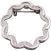 Lovely Signed GERRY'S Holiday Silver Wreath Pin  ** Free Shipping within the U.S.A.