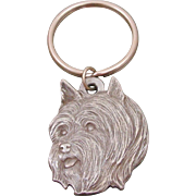 Vintage 1983 Silky Terrier Dog Key Ring by Rawcliffe Pewter