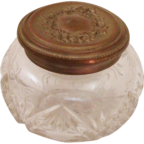Vintage Glass & Ornate Embossed Brass Lid Dressing Table Jar