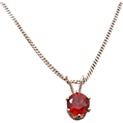 Classic Sterling Silver Chain Necklace with Genuine Garnet Solitaire Pendant
