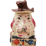Delightful Double Head Dog Glazed Terracotta Statue